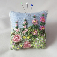 Garden Pincushion - felted and embroidered