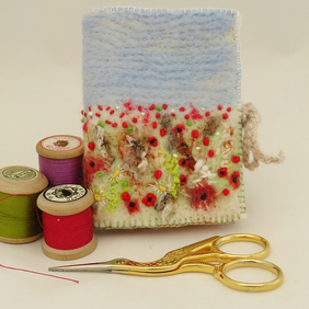 Harvest Poppies  Needle Book - Embroidered and felted