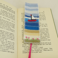 Bookmark - Seaside - patchworked and embroidered