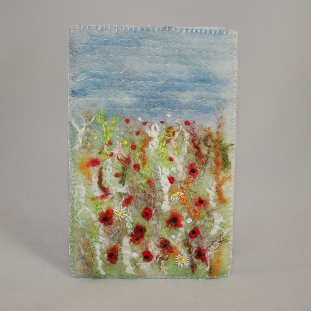 Harvest Poppies Phone Case - Felted and Embroidered
