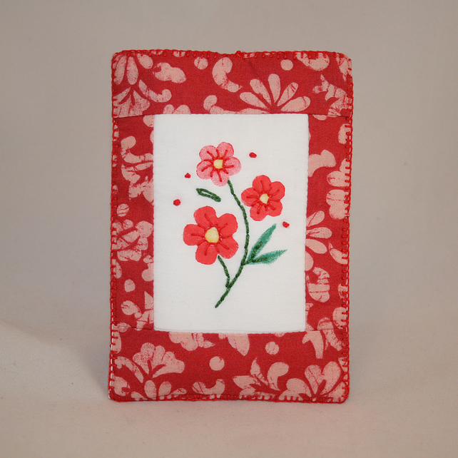 Red Flowers Phone Case - Painted and Embroidered