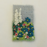 SALE Embroidered Brooch - Cottage Garden , blue and white