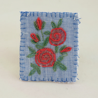 Red Rose Brooch - painted and stitched