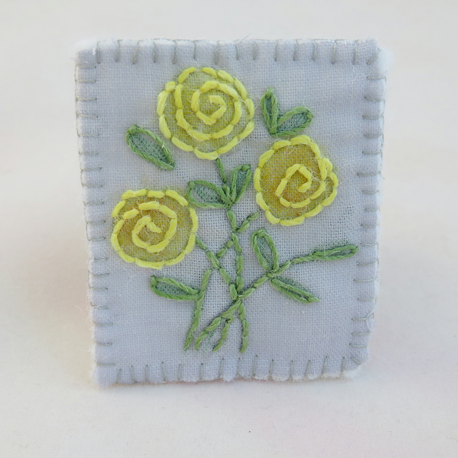 Yellow Rose Brooch - painted and stitched