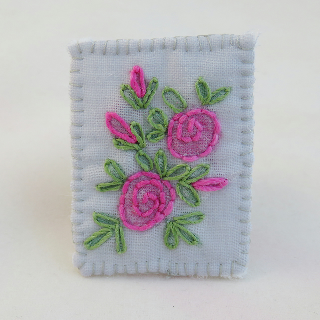 Pink Rose Brooch - painted and stitched