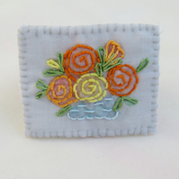 Brooch - Rose Bowl Embroidered and painted