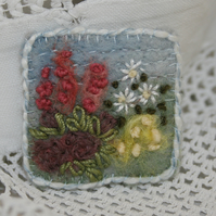 Embroidered Brooch - summer garden