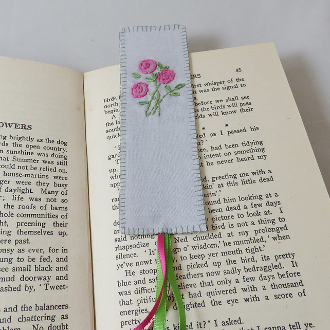 Pink Rose Bookmark - painted and stitched