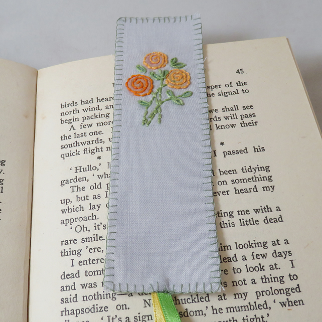 Orange Rose Bookmark - painted and stitched