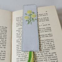 Yellow Rose Bookmark - painted and stitched