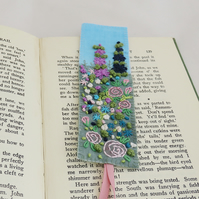 Garden Bookmark - embroidered and painted