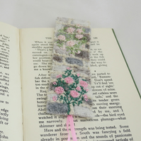 Rose Garden Bookmark - embroidered and felted