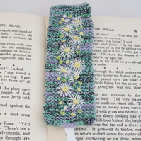 SALE - Embroidered Knitted  Bookmark - Daisies on Green and purple
