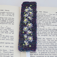 Embroidered Knitted  Bookmark - Daisies on Heather shades