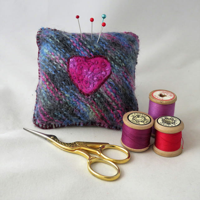 Heart Motif Pincushion - knitted, felted and embroidered