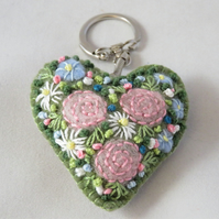 Pink roses embroidered heart keyring