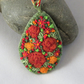 Russet Roses Felted and Embroidered Pendant
