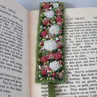 Pink and White Roses Bookmark - embroidered and felted