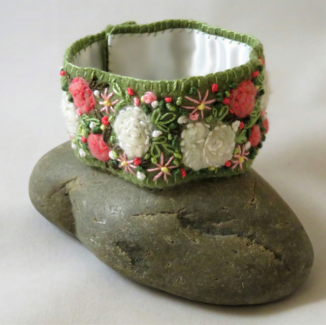 Embroidered and Felted Cuff - White and Pink Roses