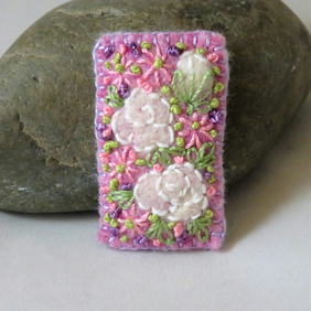 White Roses on Lilac Felted and Embroidered Brooch