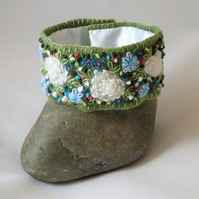 SALE - Embroidered and Felted Cuff - White Roses and blue anemonies