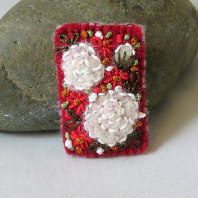 White Roses on Red Felted and Embroidered Brooch