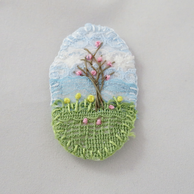 Spring Blossom Brooch Hand Embroidered Layered Lace