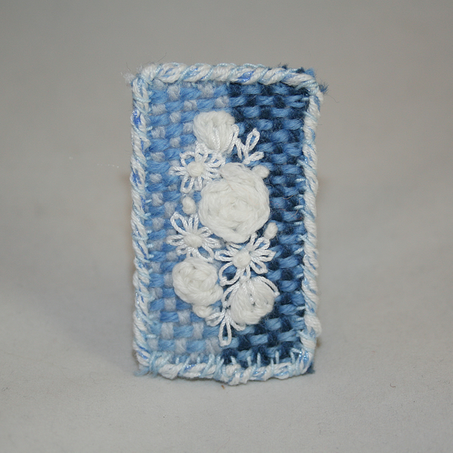 Hand Woven and Embroidered Blue and White Brooch