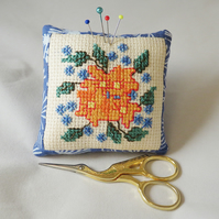SALE Cross Stitch Pincushion - a golden posy