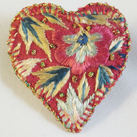 Heart Brooch - antique embroidery on red wool