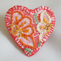 SALE Heart Brooch - Hand embroidered lace on felt
