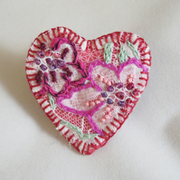 Magenta Heart Brooch - Hand embroidered lace on felt