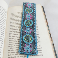 Bookmark - Embroidered Lace, blue