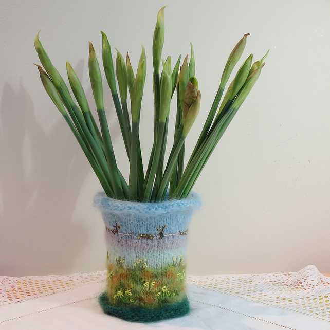 Embroidered and Knitted Daffodil Meadow vase cover