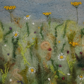 Meadow Hanging - embroidered and felted