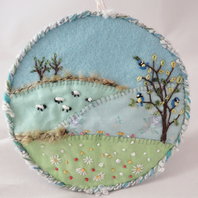 Plaque - sheep, daisies and blue tits