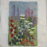 Garden Hanging - embroidered and felted