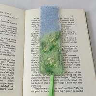 Bookmark - Spring meadow - felted and embroidered