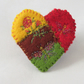 Brooch - Red Rose and Butterfly Heart in metallic threads on felt