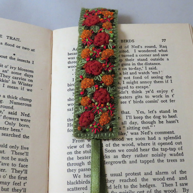 SALE - Russet roses with red anemones Bookmark - embroidered and felted