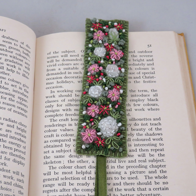 White roses with pink anemones Bookmark - embroidered and felted