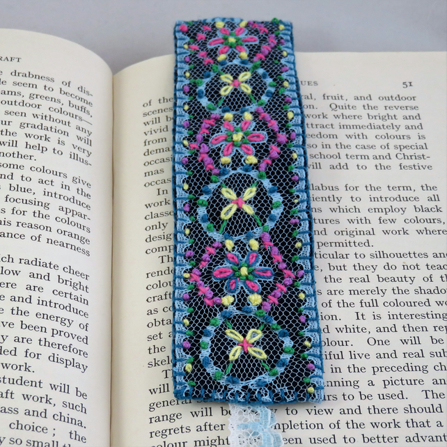 Bookmark - Embroidered Lace, blue with lace tails