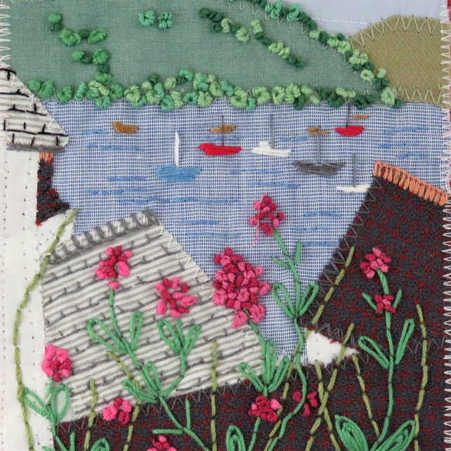 St Mawes - over the roof tops - Textile Hanging
