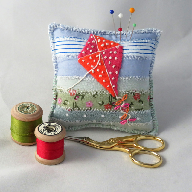 SALE - Kite Pincushion - appliqued and embroidered