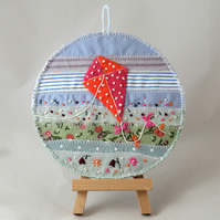 SALE - Kite Plaque - embroidered summer appliqued scene