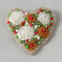 Brooch Roses and dahlias felted and embroidered on felt heart