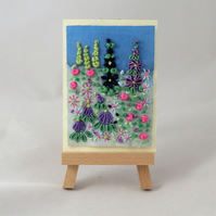 ACEO Summer Garden - Purple and Pink