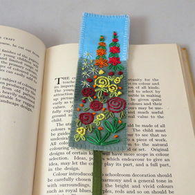 Garden Bookmark - embroidered and painted - red and yellow roses