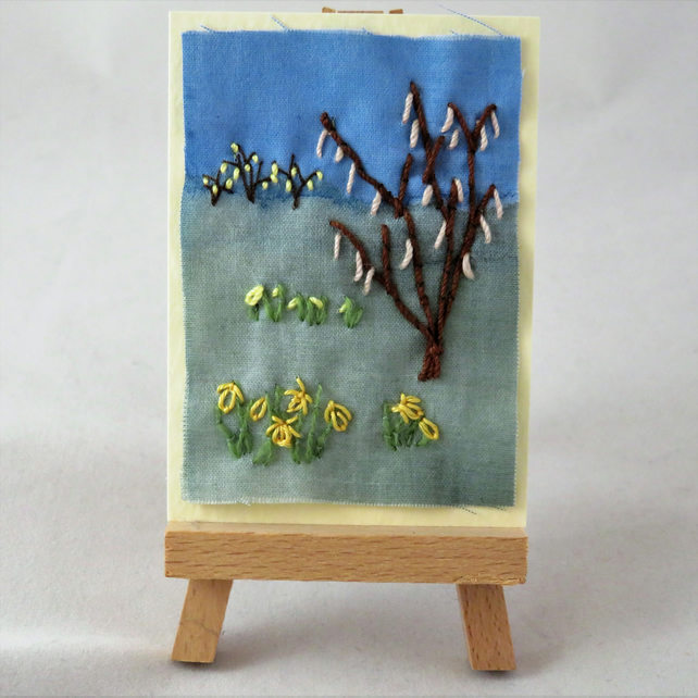 ACEO Spring Catkins and Daffodils
