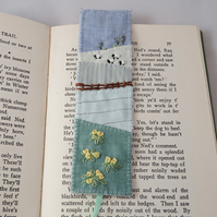 Spring Bookmark - primroses and sheep appliqued and embroidered